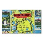 1940's City of Lakes and Parks Rectangle Sticker