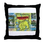1940's City of Lakes and Parks Throw Pillow