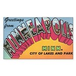 1950 Greetings from Minneapolis Rectangle Sticker