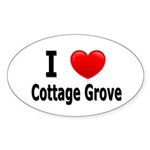 I Love Cottage Grove Oval Sticker (10 pk)