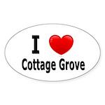 I Love Cottage Grove Oval Sticker (50 pk)