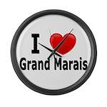I Love Grand Marais Large Wall Clock