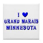 I Love Grand Marais Winter Tile Coaster