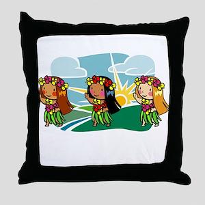Sweet Hula Babes Throw Pillow