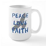 Peace Love Faith Large Mug