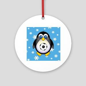 Sports Penguin Soccer Ornament (Round)