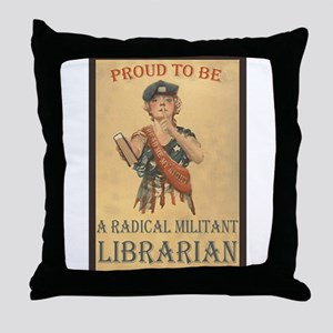 Radical Militant Librarian Throw Pillow