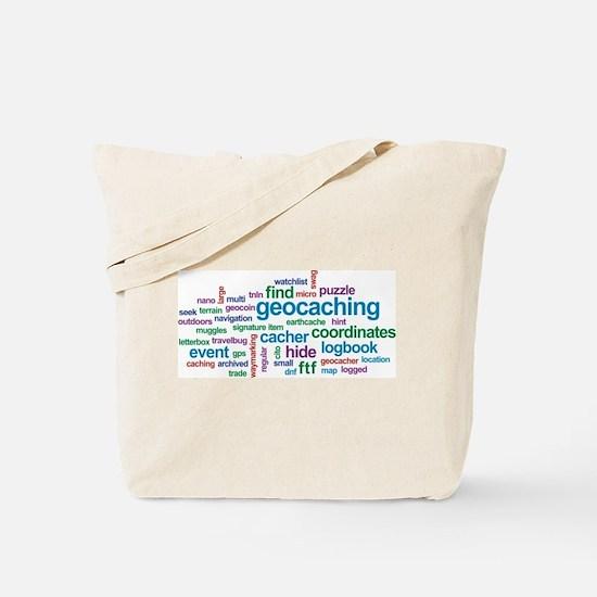 Geocaching Word Cloud Tote Bag