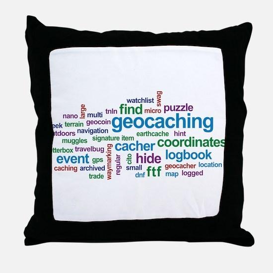 Geocaching Word Cloud Throw Pillow
