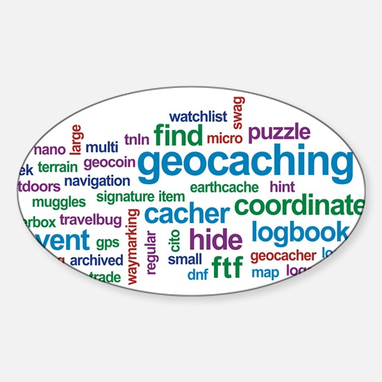 Geocaching Word Cloud Oval Decal