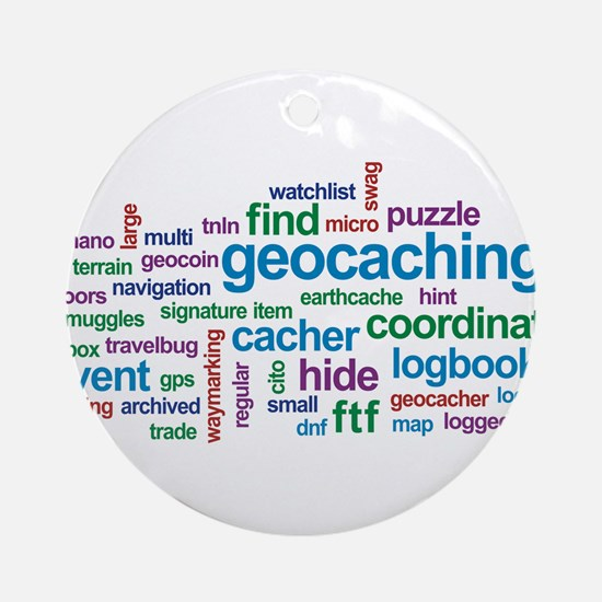Geocaching Word Cloud Ornament (Round)