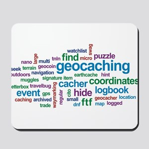 Geocaching Word Cloud Mousepad