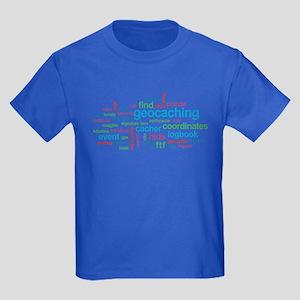 Geocaching Word Cloud Kids Dark T-Shirt
