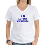 I Love Lutsen Winter Women's V-Neck T-Shirt