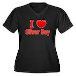I Love Silver Bay Women's Plus Size V-Neck Dark T-