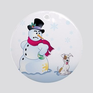 Jack Russel Terrier and Snowman Ornament (Round)