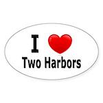 I Love Two Harbors Oval Sticker (10 pk)