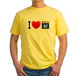 I Love Highway 61 Yellow T-Shirt