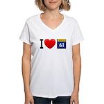 I Love Highway 61 Women's V-Neck T-Shirt