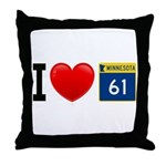 I Love Highway 61 Throw Pillow