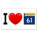 I Love Highway 61 Rectangle Sticker 10 pk)
