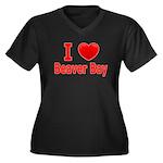 I Love Beaver Bay Women's Plus Size V-Neck Dark T-