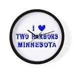 I Love Two Harbors Winter Wall Clock