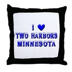 I Love Two Harbors Winter Throw Pillow