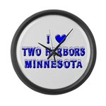 I Love Two Harbors Winter Large Wall Clock