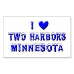 I Love Two Harbors Winter Rectangle Sticker 10 pk