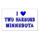 I Love Two Harbors Winter Rectangle Sticker 50 pk