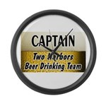 Two Harbors Beer Drinking Team Large Wall Clock