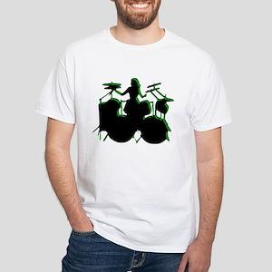 "Green Outlined ""Drummer"" White T-Shirt"
