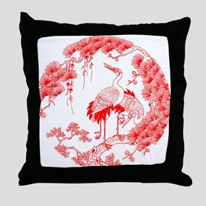 Traditional Chinese Crane Throw Pillow