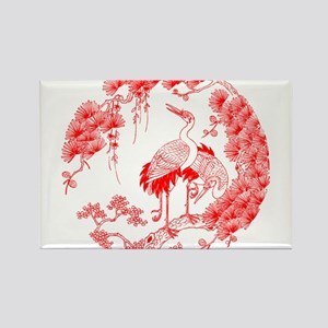 Traditional Chinese Crane Rectangle Magnet