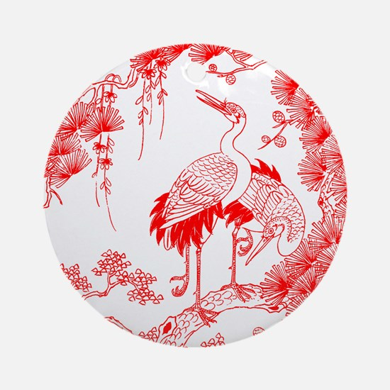 Traditional Chinese Crane Ornament (Round)