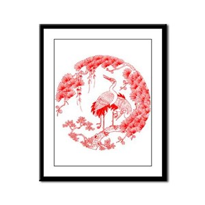 Traditional Chinese Crane Framed Panel Print