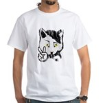 Peaceful Cat White T-Shirt