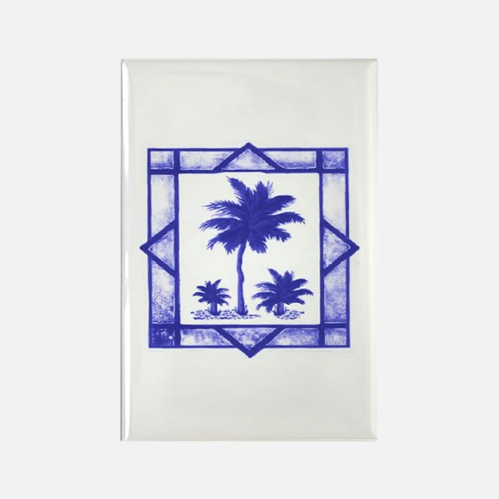 Blue Palms Rectangle Magnet