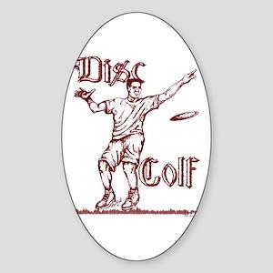 Disc Golfer Ron Oval Sticker