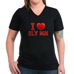 I Love Ely Women's V-Neck Dark T-Shirt