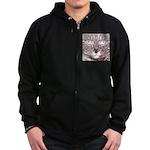 Vigilant Cat Zip Hoodie (dark)