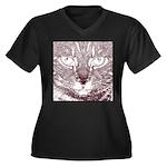 Vigilant Cat Women's Plus Size V-Neck Dark T-Shirt