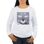 Vigilant Cat (blue) Women's Long Sleeve T-Shirt