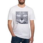 Vigilant Cat (blue) Fitted T-Shirt