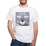 Vigilant Cat (blue) White T-Shirt