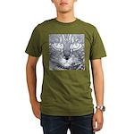 Vigilant Cat (blue) Organic Men's T-Shirt (dark)