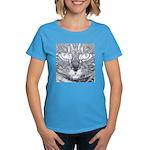 Vigilant Cat (blue) Women's Dark T-Shirt