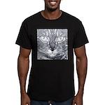 Vigilant Cat (blue) Men's Fitted T-Shirt (dark)