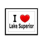I Love Lake Superior Framed Panel Print